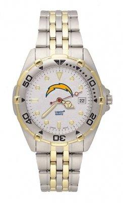 San Diego Chargers LogoArt Two Tone Allstar Bracelet Mens NFL Watch by LogoArt