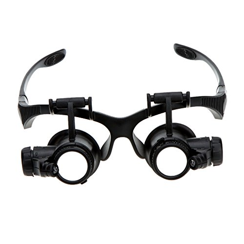 1Pc 10X 15X 20X 25X Binocular Loupe Glasses Magnifier magnifying glass with LED Light