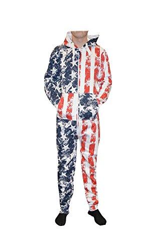 Kids Unisex USA Flag & Skeleton Printed Children's Jumpsuit boys & Girls Onesie Hood ()
