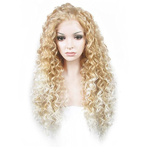 Ebingoo Blonde Mix White Lace Front Wig for Black Women Long Kinky Curly Style Soft Synthetic Lace Wigs Heat Resistant Fiber for Halloween Cosplay Party Daily