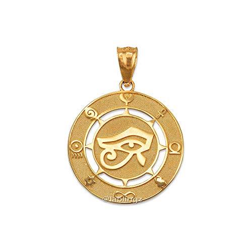 - LA BLINGZ 14K Yellow Gold Eye of Horus Good Luck Amulet Pendant