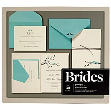 Kit Elegance Invitation (BRIDES Gold Foil Birds Print At Home Invitation Kit, Set of 30 Pocket Invitations With Response Cards)