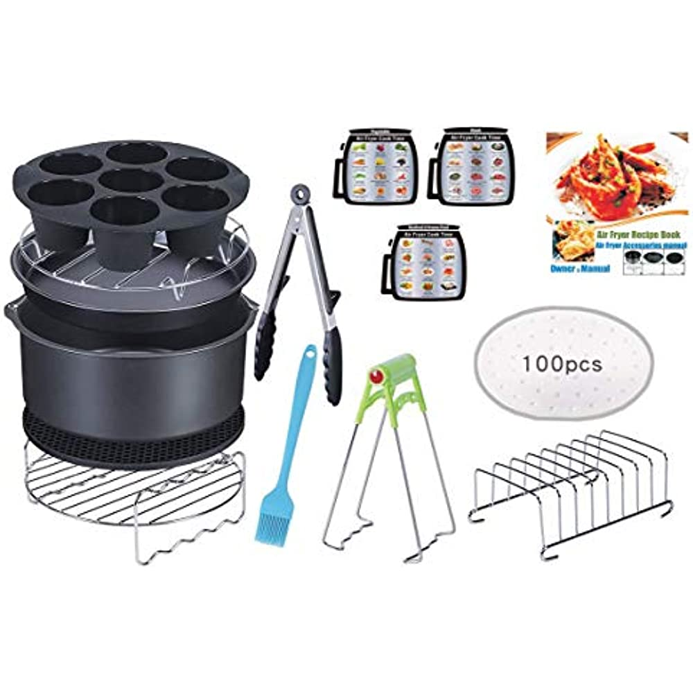 15 PCS 8 Inch XL Air Fryer Accessories, Deep With Free