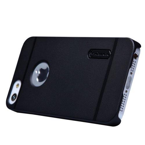 Nillkin Frosted Shield - Rückwertiges starres Schongehäuse, rutschfest + Kunststoff-Displayschutzfolie für Apple iPhone 5S / 5SE - Schwarz