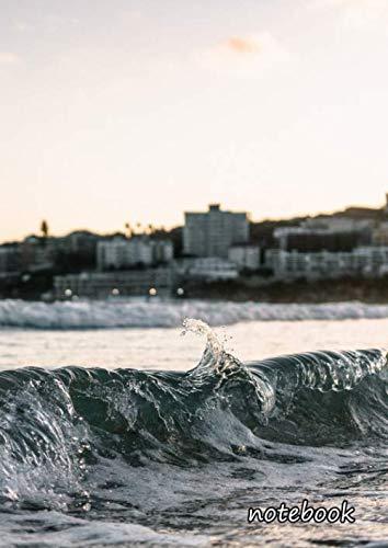 notebook: a4 cute lined journal | wave shorebreak beach ocean sea nature waves