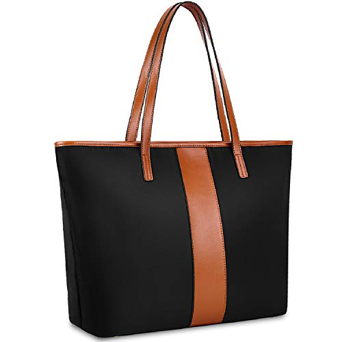 Yaluxe Women Nylon Genuine Leather Shoulder Bag Lightweight Tote Top Handle Casual Handbag - Brown&Black ()