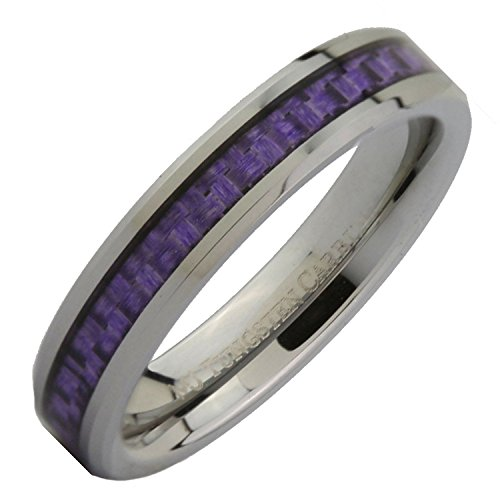 MJ Metals Jewelry 4mm Tungsten Carbide Purple Carbon Fiber Inlay Wedding Band Ring Size 8