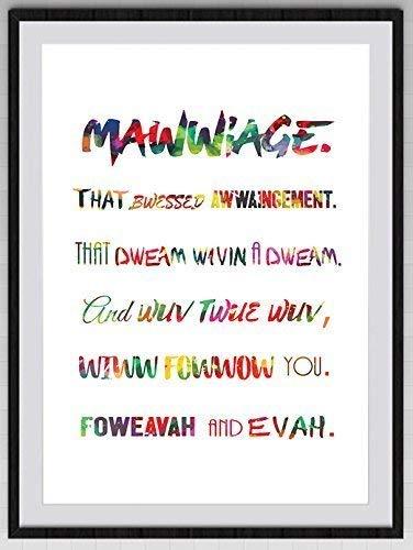Amazoncom Princess Bride Mawwiage Quote Watercolor Art Print 2