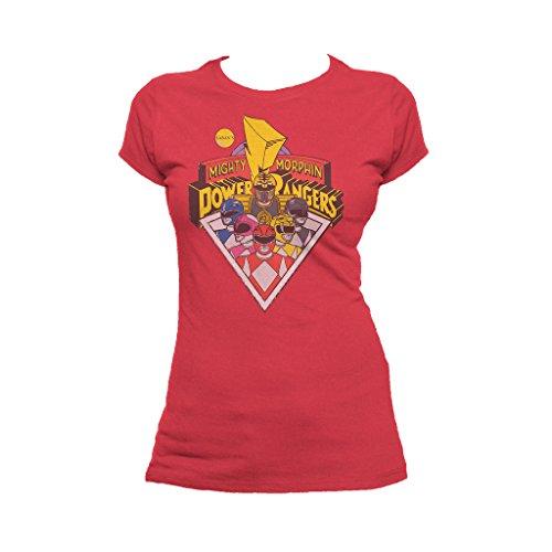 Power Rangers Women's Logo Groups T-Shirt Small - Power Outfit White Ranger
