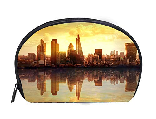 (Custom design Portable Toiletry Cosmetic Bag Composition London in sunset with reflection in Thames water Ladies Travel Convenience Small Wash Bag Storage Bag)