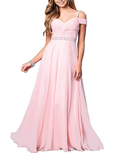 Roiii Women's Elegant Formal Bridesmaid Evening Gown Sleeveless Ruched Party Cocktail Maxi Long Dress (Small, Pink)