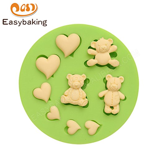 3D Teddy Bears and Love Hearts Silicone Fondant Molds Kitchen Accessories Cake Decorating Tools