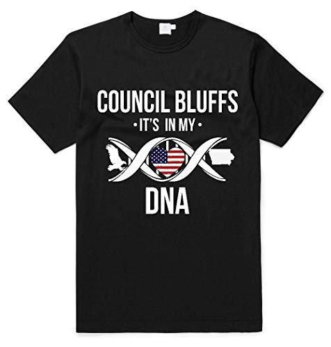Council Bluffs Iowa IA It's in My DNA American Flag Independence Day Shirt Patriotic Unisex T Shirt Black (America's Best In Council Bluffs)
