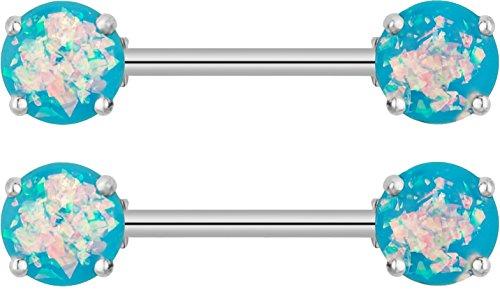 Gemstone Nipple Ring - Forbidden Body Jewelry 14G Set of Surgical Steel Aqua Blue Simulated Opal Glitter Gemstone Nipple Ring Barbells