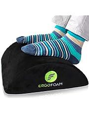 ErgoFoam Ergonomic Foot Rest Under Desk - Premium Velvet Soft Foam Footrest for Desk - Most Comfortable Desk Foot Rest in The World for Lumbar, Back, Knee Pain - Foot Stool Rocker (Black)