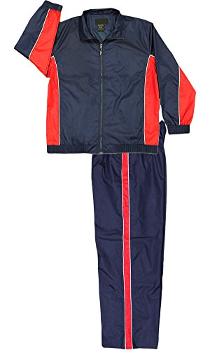 Tri Color Track Jacket (Apparel No. 5 Men's Nylon Full Zip Mesh Running Track Suit Set,X-Large,Navy/Red/White)
