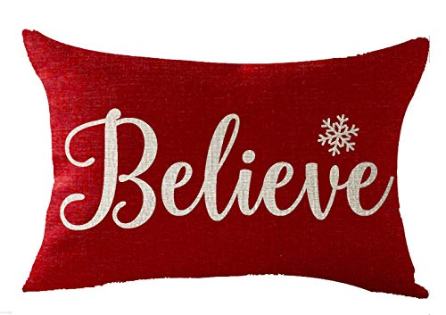 FELENIW Happy Winter Snowflakes Believe Merry Christmas Throw Pillow Cover Cushion Case Cotton Linen Material Decorative Lumbar 12X20 inches - Merry Christmas Throw Pillow