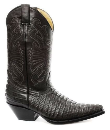Grinders Tutte Nero In Taglie Croc Di Le Coccodrillo Cowboy Western Stivali Pelle Carolina Coda BedrCxoW
