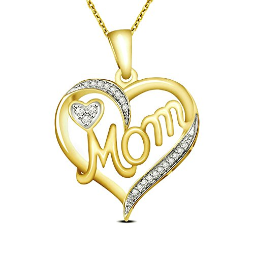 Heart Gold Real Diamond (0.07 Carat Natural Real Diamond Mothers Day Special Heart Mom Pendant 10K Yellow Gold With Free Chain)