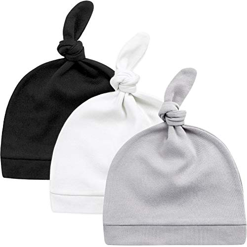KiddyCare Baby Hats Newborn 100% Organic Cotton - Soft & Warm Knotted Cap, for 0-6 Months Old Infants Boys and Girls