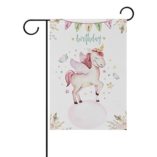 - U LIFE Happy Birthday Cute Animal Unicorn Garden Yard Flag Banner for Outside House Flower Pot Double Side Print 12 x 18 Inch