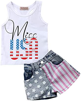 Viclearshop Toddler Kids Baby Girl Letter Printed Sleeveless T-Shirt Top+Denim Shorts Outfits