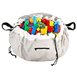 Alice Jane Baby Co. Portable Play Mat and Toy Bag: Large 55'' Indoor/Outdoor Playmat and Tote Bag Organizer with Drawstring for Toys - Cotton/Polyester Activity Floor Mats for Toddler Age Kids - Gray