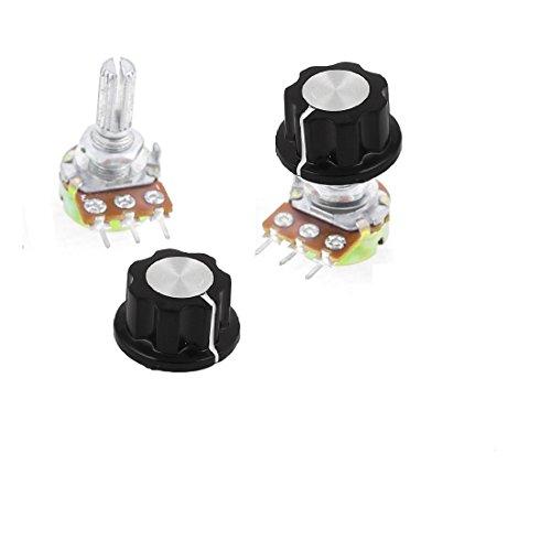 orlov 2x 1K Ohm Linear Taper Potentiometer W/ Black knobs Pot 15mm 3Pin B1K