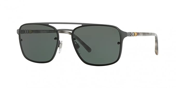 6fb0c53fb78e Amazon.com: Burberry Men's BE3095 Sunglasses Grey Rubber/Green 56mm ...