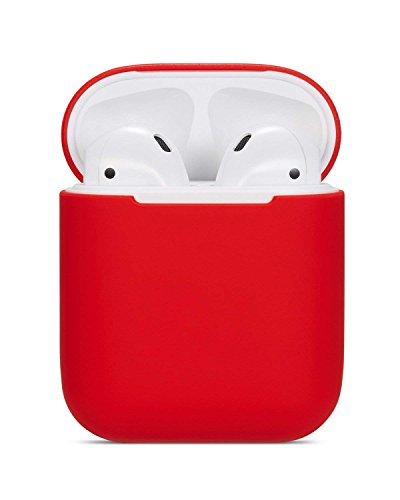 ZALU Compatible for AirPods Case, 0.8mm Ultra-Thin Version, Premium Protective Silicone Cover Skin for AirPods Charging Case (Red) -