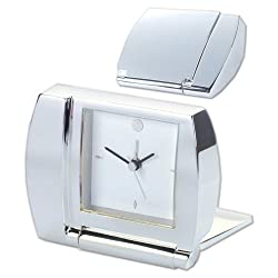 Natico Folding Silver Alarm Clock (10-1365)
