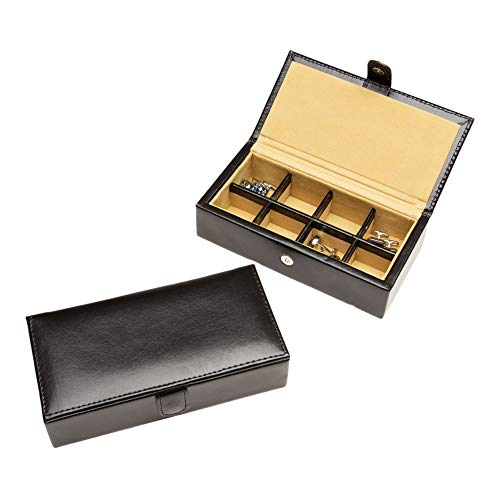 Cuff-Daddy 8 Pair Leather Travel Cufflinks and Rings Storage Box Case ()
