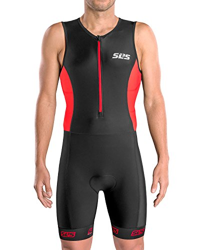 (Men`s Triathlon Suit | Tri Suit Men | 2 Pockets | Skinsuit Trisuit | Great Fit and Comfortable | German Designed (Black/Red, Medium))