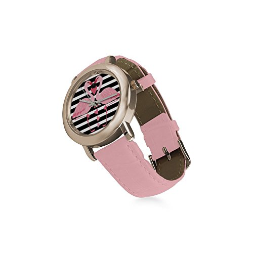 Friends Gifts Lovers Gifts Black White Stripes Two Love Flamingos Women's Gold Leather Strap Watch