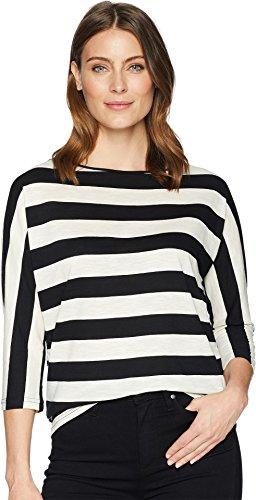 Chaps Women's Striped Slub Jersey T-Shirt Polo Black/Heritage Cream X-Large