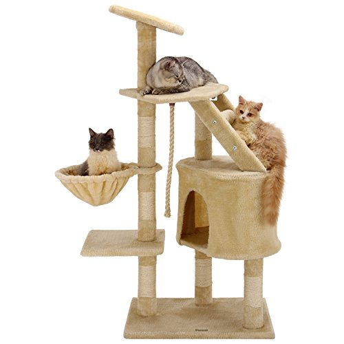 Ollieroo 48'H Cat Climbing Tree Tower Condo Scratcher Furniture Kitten House Hammock with Scratching Post and Toys for Cats Kittens Playhouse Beige