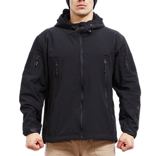 Sun Lorence Men Outdoor Tactical Softshell Military Mountaineering Jackets Black XL