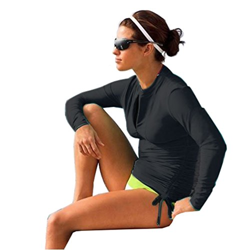 Women's Long Sleeve Rash Guard Wetsuit Swimsuit Top UV Sun Protection (901 S, Black)