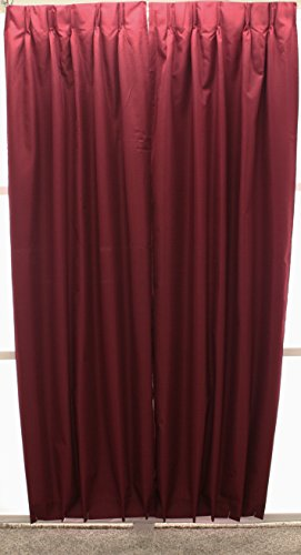 Croswell Homespun Solid Thermal Pinch Pleat Drape Pair 144Wx84L Bordeaux