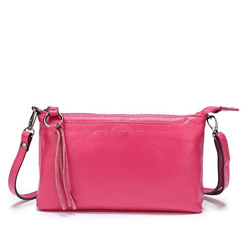 (Lanvera Women's Crossbody Shoulder Bag Genuine Leather Zipper Clutch Purse Wallet Handbag (Rose Red))