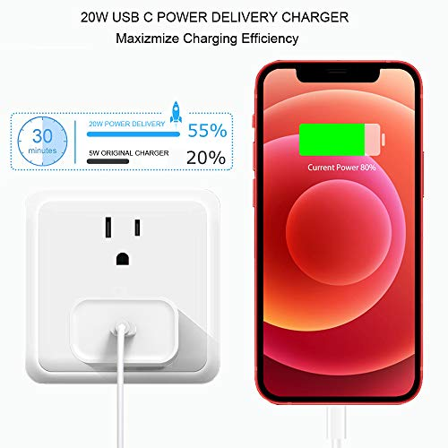 iPhone 13 12 Fast Charger, [Apple MFi Certified] USB C Wall Charger Fast Charging 20W PD Adapter with 6FT Type-C to Lightning Cable Compatible with iPhone 13 12 Pro Max Mini 11 Xs XR X 8 Plus and More