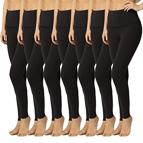 High Waisted Leggings for Women - Soft Athletic Tummy Control Pants for Running Cycling Yoga Workout - Reg & Plus Size (7 Pack Black, Extra Size (US 24-32))