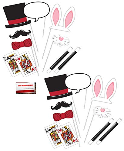 Magic Magician Show (20 pcs) Party Photo Booth Props (Plus Party Planning Checklist by Mikes Super Store)