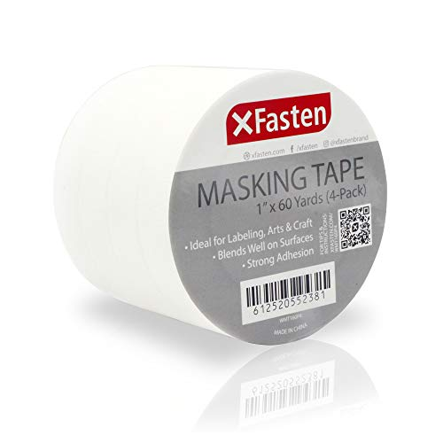 (XFasten Artisan Masking Tape White, 1 Inches x 60 Yards, Pack of 4 for Drafting and Arts and Crafts)