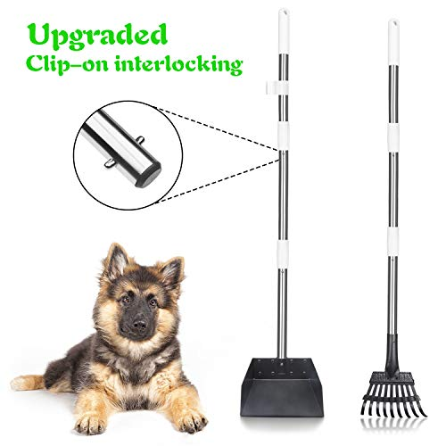 TIANYAO Dog Pooper Scooper Upgraded Metal Pet Poop Tray And Rake Set For Small Medium Dogs Pet Waste Removal With Long Adjustable Handle