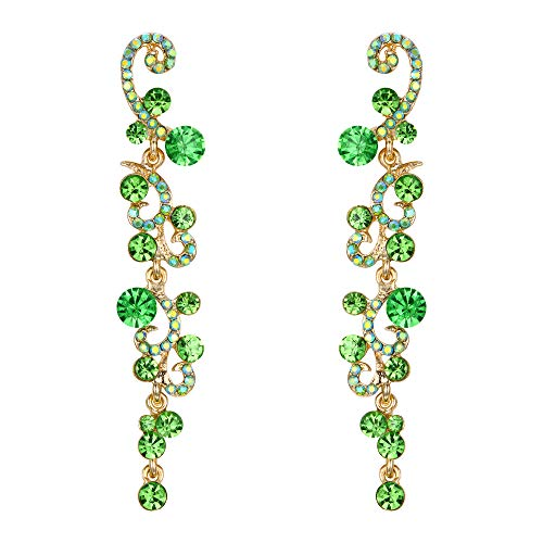 (EVER FAITH Women's Rhinestone Crystal Bridal Banquet Flower Wave Dangle Earrings Green Gold-Tone)