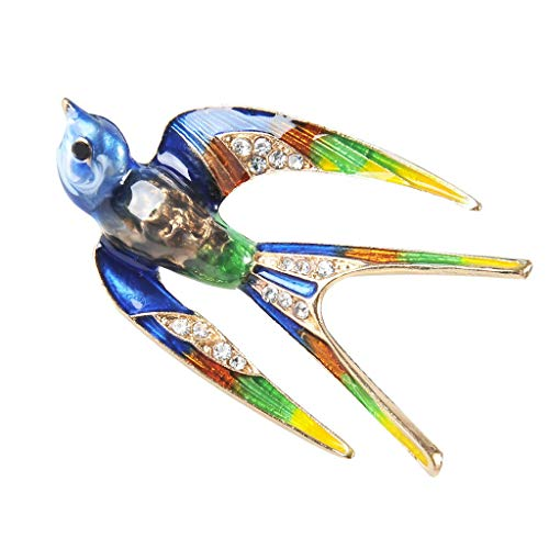 Colorful Enamel Swallow Brooch Scarf Pins Christmas Animal Lover Jewelry | Color - Blue ()