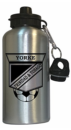 Dwight Yorke (Trinidad And Tobago) Soccer Water Bottle Silver by Custom Image Factory