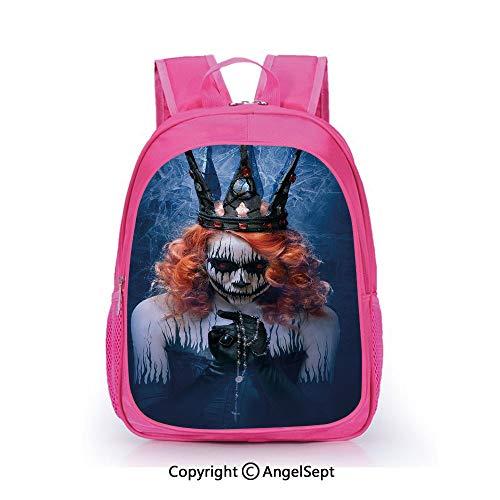 Custom Kid's Backpack Waterproof Cartoon Picture,Queen of Death Scary Body Art Halloween Evil Face Bizarre Make Up Zombie Navy Blue Orange Black,15.7inch,School Bag For Unisex -