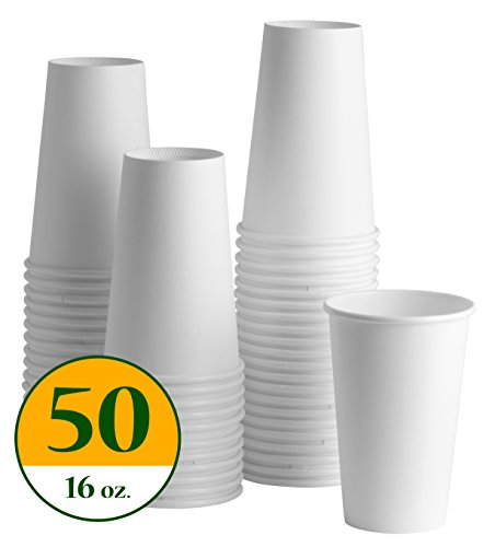 COMFY PACKAGE 16 oz. White Paper Hot Cups [50 PACK]